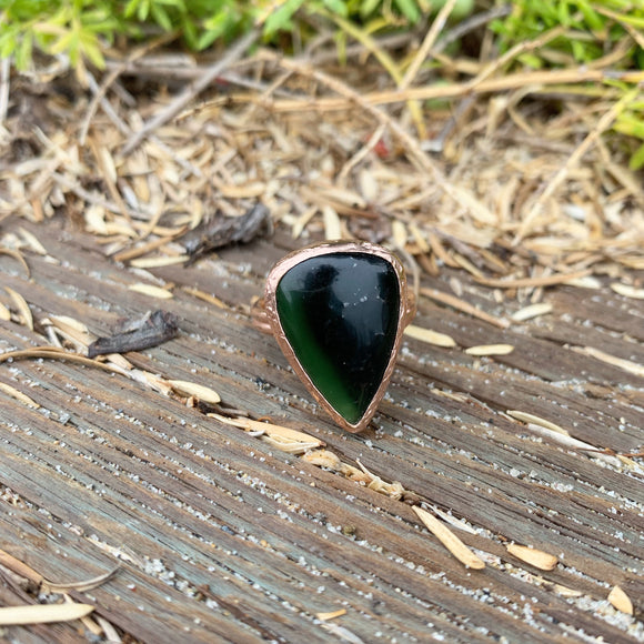 Rainbow Obsidian Ring in Gold