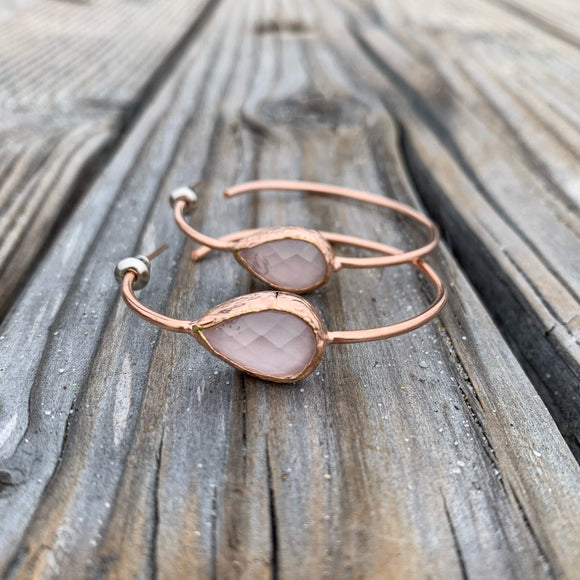 Rose Quartz Hoop Earrings in Rose Gold