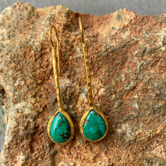 Chrysocolla Long Earrings in Gold