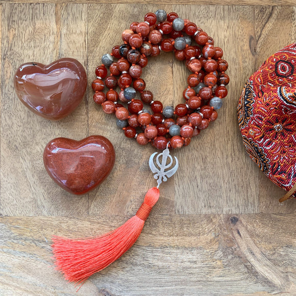 Red Jasper, Labradorite and Carnelian Mala with Adi Shakti Guru Bead