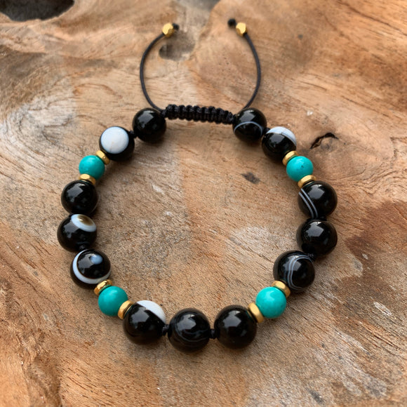 Botswana Agate & Turquoise Adjustable Beaded Bracelet