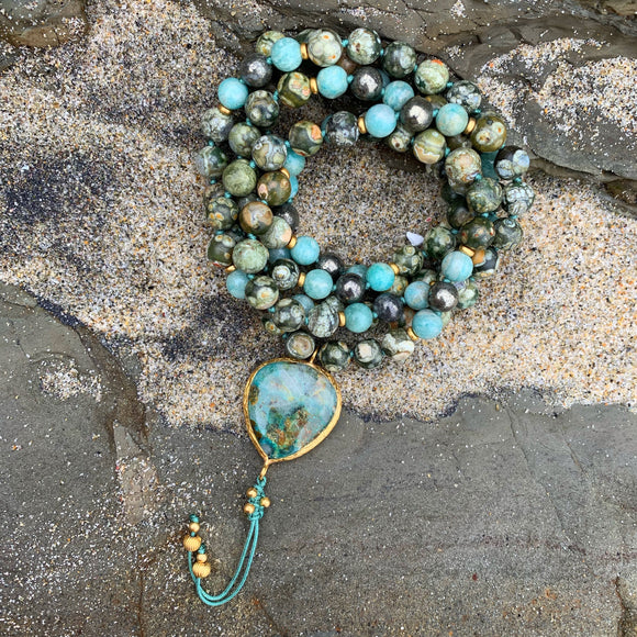 Ocean Jasper, Pyrite and Amazonite One of a Kind Mala with Chrysocolla Guru Bead