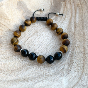 Black Onyx & Matte Tiger's Eye Adjustable Beaded Bracelet