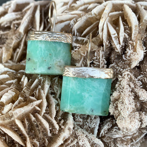 Chrysoprase Sterling Silver Plated Earrings