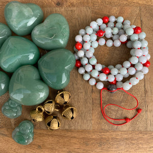 Jadeite and Mediterranean Coral Adjustable Mala with Tourmalinated Quartz Guru Bead