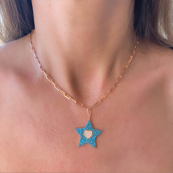 Silver- Turquoise Star and Heart Paperclip Chain Sterling Silver Necklace