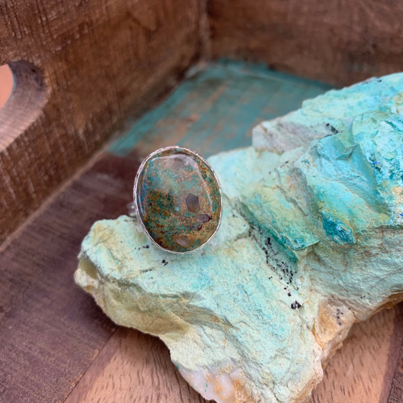 Oval Chrysocolla Ring in Silver