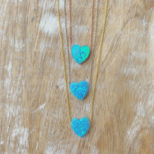 Silver - Opalite Heart Necklace Adjustable