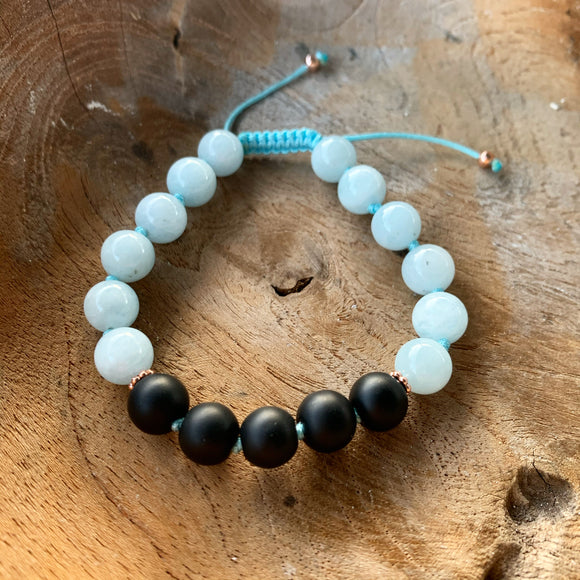 Aquamarine and Matte Black Onyx Adjustable Beaded Bracelet