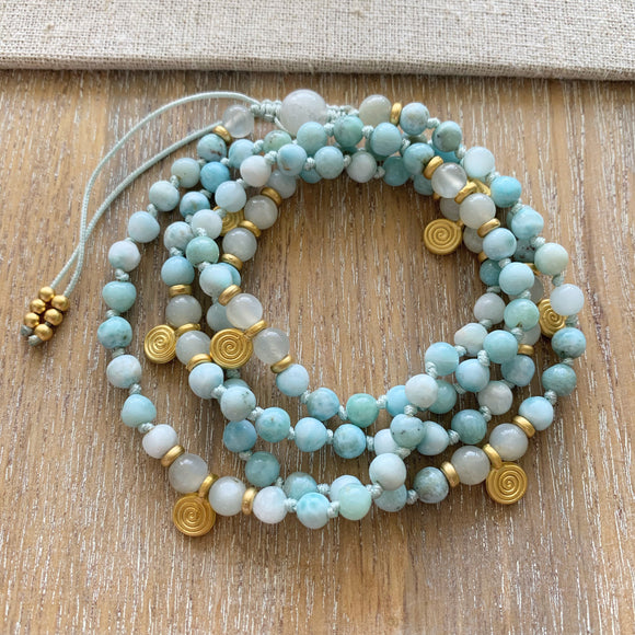Larimar & Moonstone Adjustable Mala with Moonstone Guru Bead