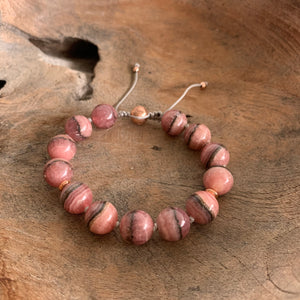 Rhodochrosite Adjustable Beaded Bracelet