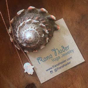 Silver - Opalite Hamsa Hand  Necklace Adjustable
