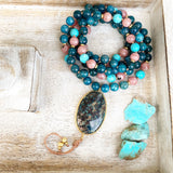 Apatite, Rhodochrosite and Turquoise Mala with Chrysocolla Guru Bead