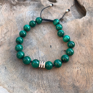 Malachite Adjustable Beaded Bracelet 10mm