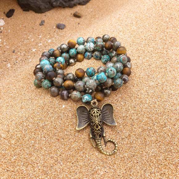 Mala - Ocean Jasper, Tiger's eye, Pyrite and Ganesha Guru