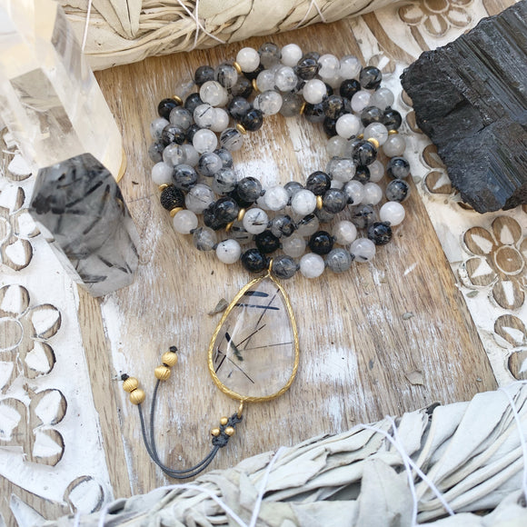 Tourmalinated Quartz One of a Kind Mala with Tourmalinated Quartz Guru Bead