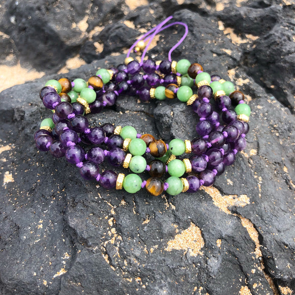 Amethyst, Jade & Tiger's Eye Adjustable Mala 6mm