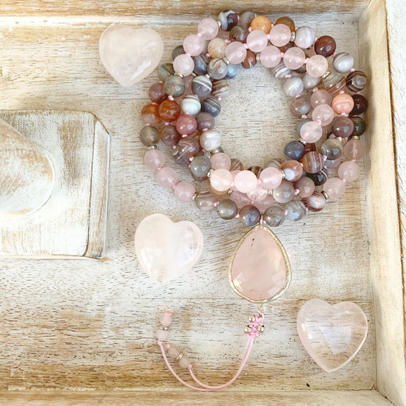Rose Quartz and Botswana Agate Mala with Rose Quartz Guru Bead