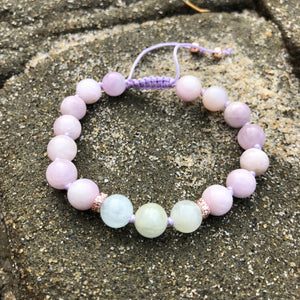 Morganite & Kunzite 8mm Adjustable Beaded Bracelet with Rose Gold Accents