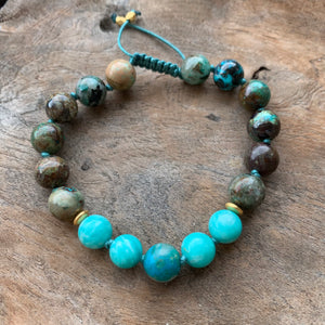 Amazonite and Chrysocolla Adjustable Beaded Bracelet