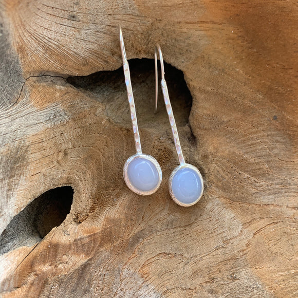 Chalcedony Long Earrings in Silver