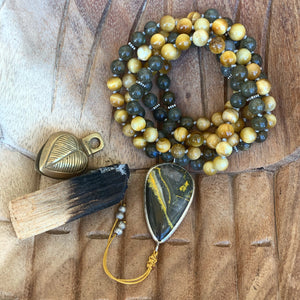 Golden Tiger's Eye and Labradorite One of a Kind Mala with Bumble Bee Jasper Guru Bead