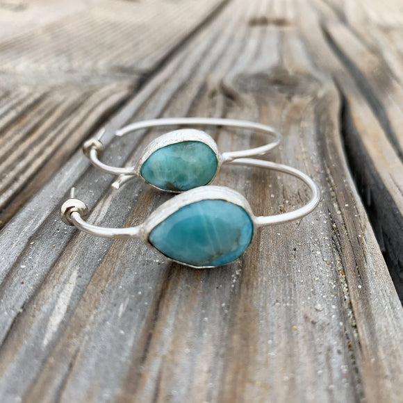 Larimar Hoop Silver Plated Earrings
