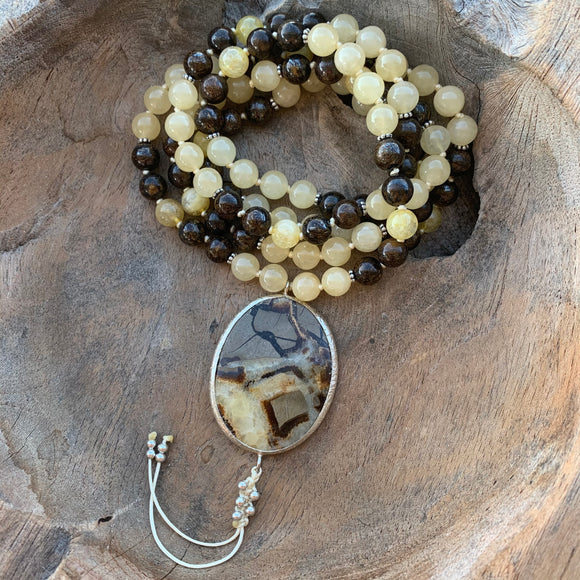 Orange Calcite, Citrine and Bronzite One of a Kind Mala with Septarian Guru Bead