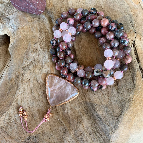 Rose Quartz & Rhodonite Mala with Rose Quartz Guru Bead