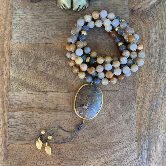 Star Jasper and Labradorite One of a Kind Mala with Star Jasper Guru Bead