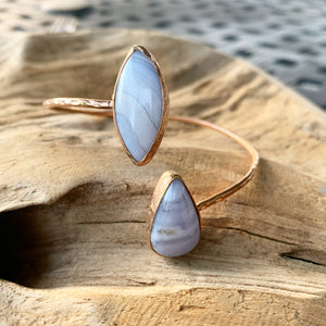 Blue Lace Agate or Chalcedony Bangle Bracelet