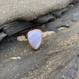 Chalcedony or Blue Lace Agate Ring in Rose Gold