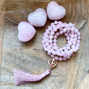 Rose Quartz Mala with Adi Shakti Guru Bead