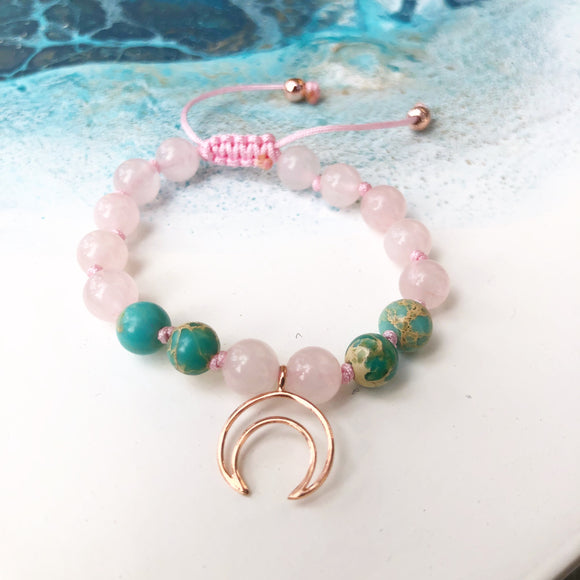 Rose Quartz & Sea Sediment Jasper 8mm Adjustable Beaded Bracelet with Rose Gold Crescent Moon