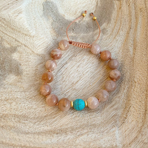 Sunstone and Turquoise Adjustable Beaded Bracelet 8mm