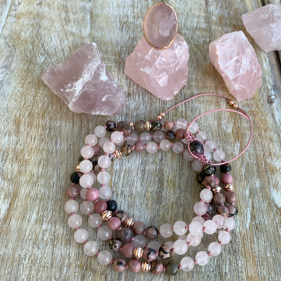 Rose Quartz & Rhodonite Adjustable Mala