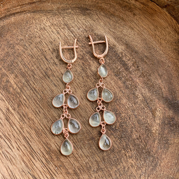 Silver - Prehnite Earrings
