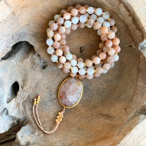 Sunstone & Moonstone Mala with Sunstone Guru Bead