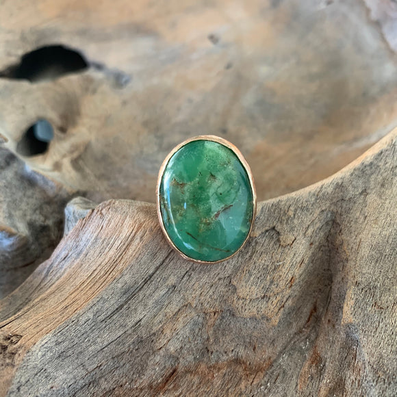 Chrysoprase Oval Ring in Rose Gold