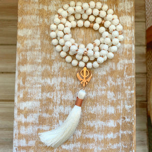 Floral Carving White Shells Mala with Rose Gold Adi Shakti Guru Bead