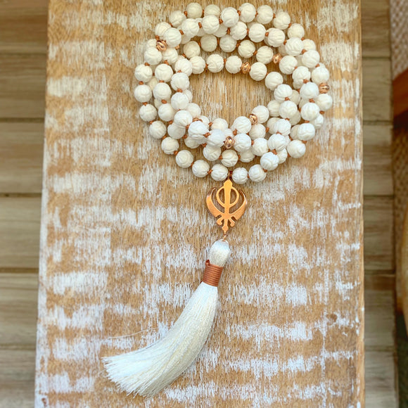 Floral Carving White Shells Mala with Rose Golf Adi Shakti Guru Bead