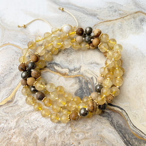 Citrine, Pyrite & Picture Jasper Adjustable Mala with White Shells Guru Bead 6mm