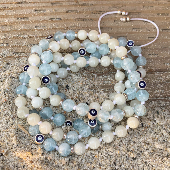 Aquamarine & Moonstone Adjustable Mala with Eye of Protection Guru Bead 6mm