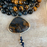 Hawk's eye and Tiger's Mala with Pietersite Guru Bead