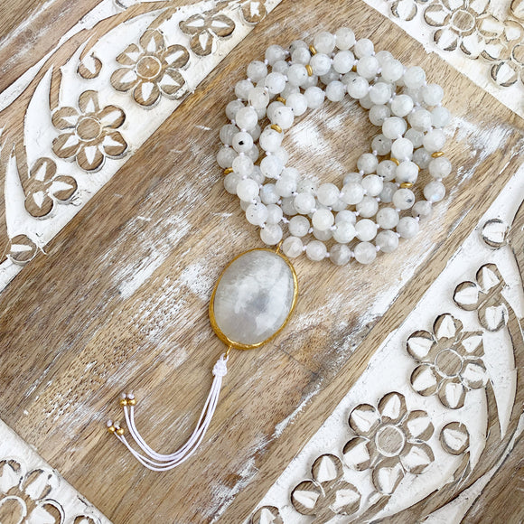 Moonstone Mala with Moonstone Guru Bead