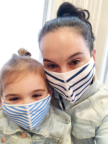 Mom and daughter wearing face masks.