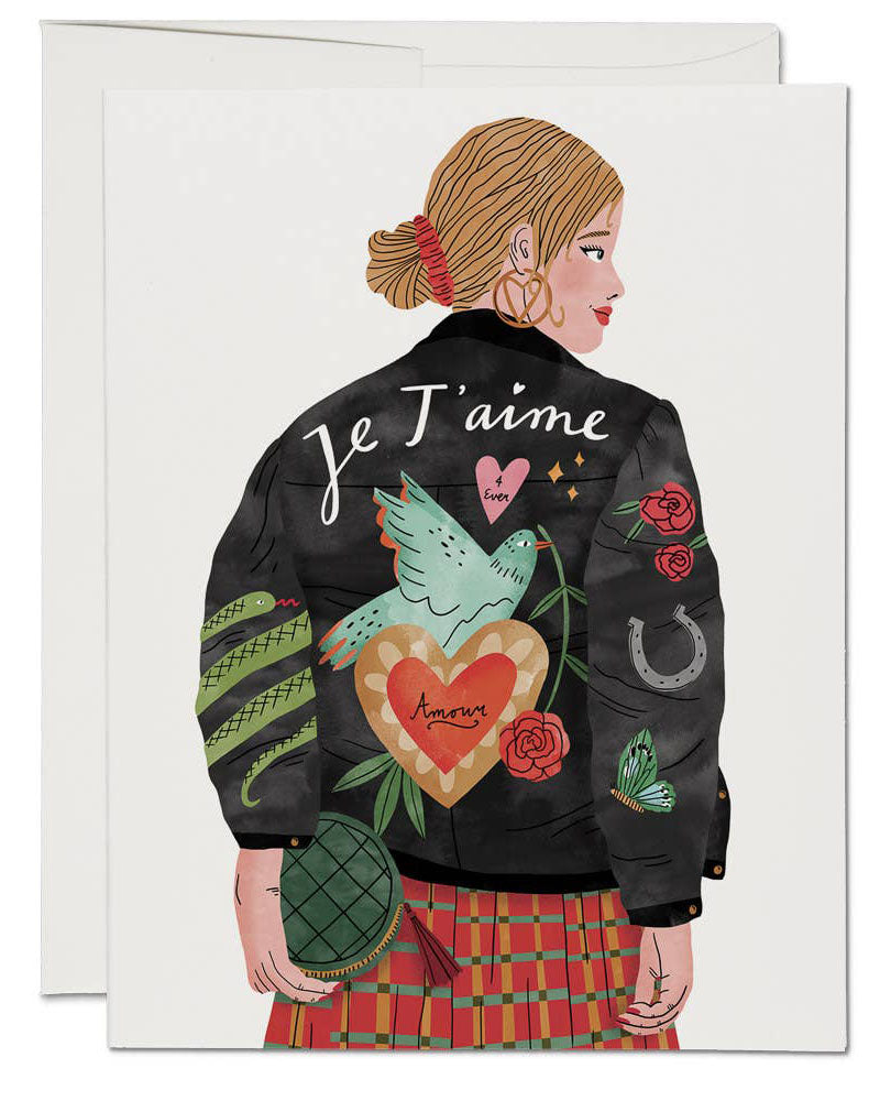 Je T'aime Jacket Valentine's Greeting Card