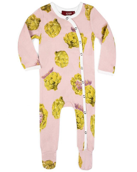 Milkbarn Organic Cotton Artichoke Footed Romper