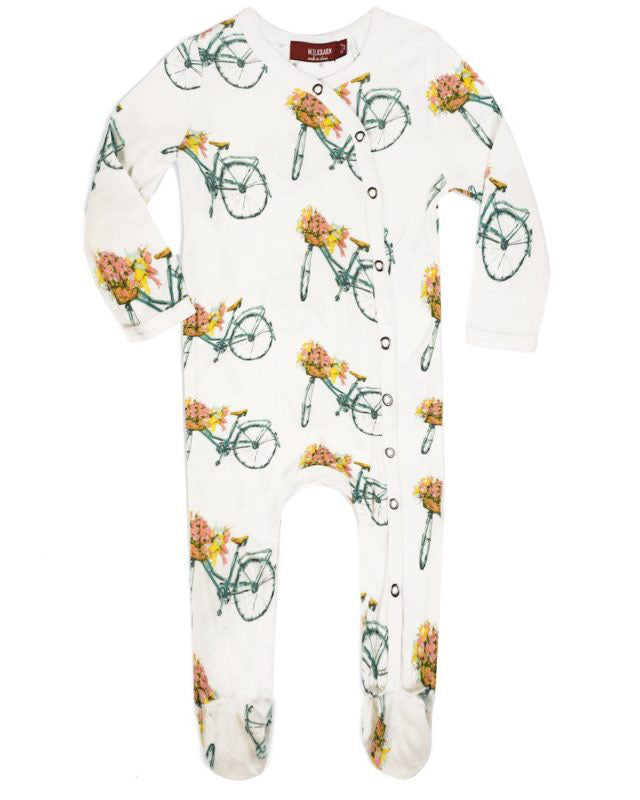 Milkbarn Bamboo Floral Bicycle Footed Romper