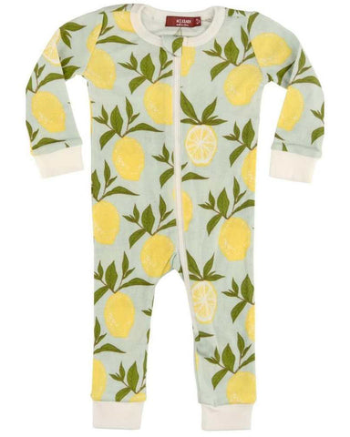 Milkbarn Lemon Organic Cotton Zipper Pajamas